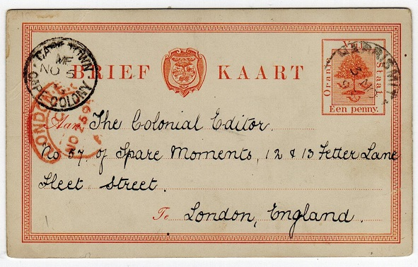 ORANGE FREE STATE - 1884 1d PSC used at HARRISMITH.  H&G 1.