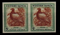SAMOA - 1952 5d IMPERFORATE PLATE PROOF pair.