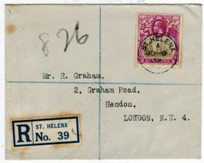 ST.HELENA - 1932 6d 9Badge Of Colony) registered cover to UK.