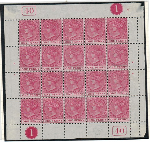 ST.KITTS (St.Christopher) - 1884 1d carmine-rose CONTROL 1/PL 40 mint sheetlet of 15.  SG 13/13a.