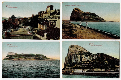 GIBRALTAR - Range of 5 unused early postcards.