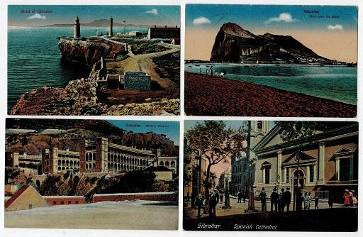 GIBRALTAR - 4 early unused coloured picture postcards.