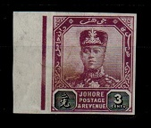 MALAYA (Johore) - 1910 3c IMPERFORATE PLATE PROOF.
