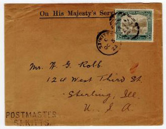 ST.KITTS - 1923 use of scarce 2d TERCENTENARY adhesive on OHMS envelope to USA.