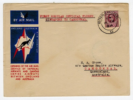 SINGAPORE - 1934 first flight cover to Australia.
