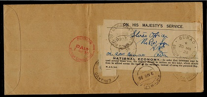 SOMALILAND - 1935 OHMS cover re-use of
