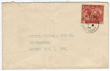 ST.KITTS - 1938 1 1/2d cover to UK cancelled SANDY POINT.
