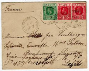 ST.LUCIA - 1915 re-directed cover to France from SOUFRIERE.