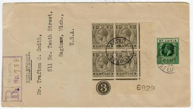 ST.LUCIA - 1924 registered cover to USA with 2d PLATE 3 block of four.