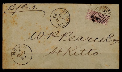 ST.KITTS (Nevis) - 1883 1d violet BI-SECT on cover.  SG 26a.