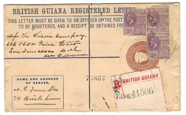 BRITISH GUIANA - 1922 4c brown uprated RPSE to USA cancelled REGISTRATION/GPO.BG. H&G 8.