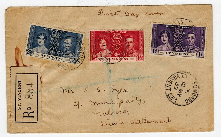ST.VINCENT - 1937 registered first day cover to Malaya used at EDINBORO/ST.VINCENT.