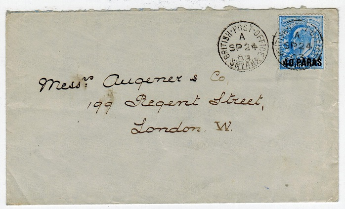 BRITISH LEVANT - 1903 cover to UK with 40p on 2 1/2d used at SMYRNA.