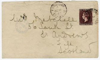 ST.VINCENT - 1887 cover to UK with 4d purple brown adhesive used at KINGSTON.