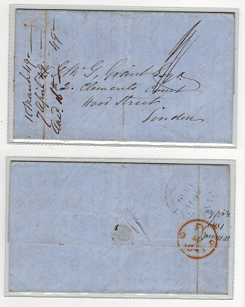 ST.VINCENT - 1849 stampless entire to UK with ST.VINCENT double arc cancel.