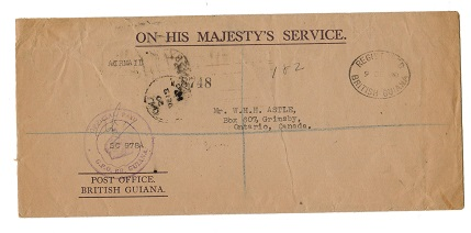 BRITISH GUIANA - 1950 OHMS cover to Canada with OFFICIAL PAID h/s.