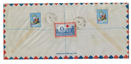 BRITISH GUIANA - 1946 registered cover to UK with GREETINGS and RED CROSS labels.