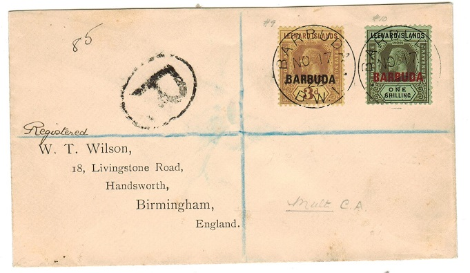 BARBUDA - 1922 registered cover to UK.