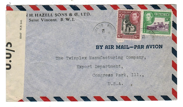 ST.VINCENT - 1943 commercial censored cover to USA with U.U/5 censor label.