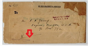 Br.PO.IN E.A. (Muscat) - 1930 (circa) OHMS envelope with RECEIVED IN BAD CONDITION h/s.