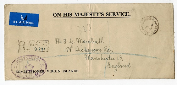 BRITISH VIRGIN ISLANDS - 1951 OHMS cover to UK with POSTMASTER cachet.