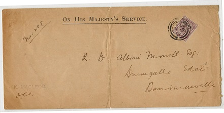 CEYLON - 1902 OHMS local envelope with 5c ON SERVICE stamp used at COLOMBO.