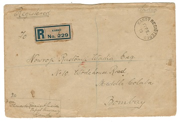 CEYLON - 1919 1c on 5c (SG 337) multi cancelled cover from KANDY.