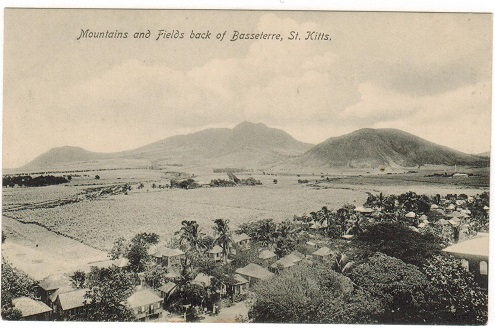 ST.KITTS - 1920 (circa) unused postcard of Mountains at Basseterre.