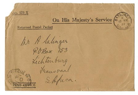 GAMBIA - 1937 OHMS-RETURNED POSTAL LETTER cover with OFFICIAL PAID h/s.
