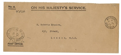 GAMBIA - 1929 OHMS cover with OFFICIAL PAID h/s.