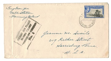 GILBERT AND ELLICE IS - 1945 PASSED BY CENSOR cover from FANNING ISLAND.