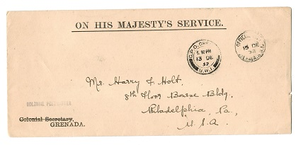 GRENADA - 1932 OFFICIAL PAID h/s on OHMS cover to USA.