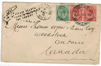 CANADA - 1919 inward cover with MISSENT TO instructional handstamp.