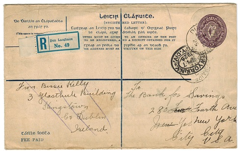 IRELAND - 1926 5d deep violet RPSE (size H) to USA used at DUN LAOGHAIRE.  H&G 5b.