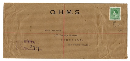 NEW GUINEA - 1937 OHMS 5d rate registered cover from KIETA.