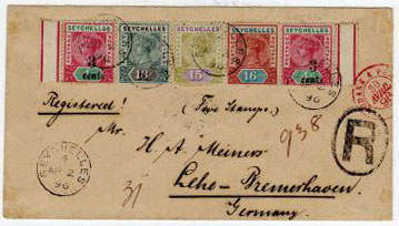 SEYCHELLES - 1896 multi franked cover registered to Germany with 3c on 4c surcharge and cancelled by