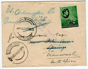 SEYCHELLES - 1940 PASSED BY CENSOR/SEYCHELLES No.2 cover.