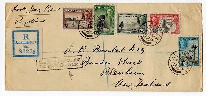 NYASALAND - 1945 registered cover to NZ with POSTED OUT OF COURSE h/s.