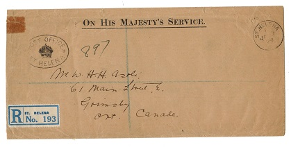 ST.HELENA - 1929 stampless registered OHMS cover to Canada.