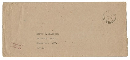 ST.KITTS - 1945 stampless cover addressed to USA with scarce OFFICIAL PAID/ST.KITTS cds.