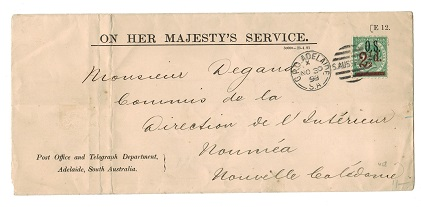 AUSTRALIA (South Australia) - 1891 OHMS cover to New Caledonia with 2 1/2d on 4d