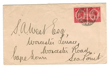 NYASALAND - 1920 2d rate cover to Cape Town used at FORT JOHNSON.