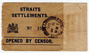 SINGAPORE - 1916 WWI cover with STRAITS SETTLEMENTS/OPENED BY CENSOR label.