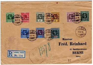 TOGO - 1916 scarce French military markings on cover to Switzerland.