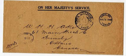 TONGA - 1928 registered OHMS cover to Canada with TONGA GOVERNMENT FRANK h/s.
