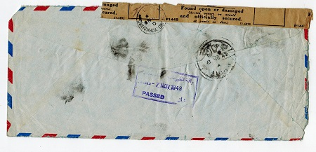 TRANSJORDAN - 1949 AMMAN PASSED censor cover to UK with FOUND DAMAGE strip at top.