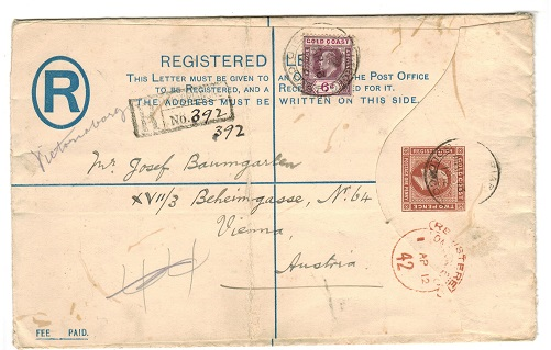 GOLD COAST - 1904 2d+1d RPSE (size H) to Austria with 6d added used from VICTORIABORG.  H&G 8b.