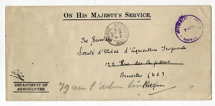 TRINIDAD AND TOBAGO - 1909 OHMS cover to Belgium with GOVERNEMNT OFFICIAL/PAID h/s in violet.