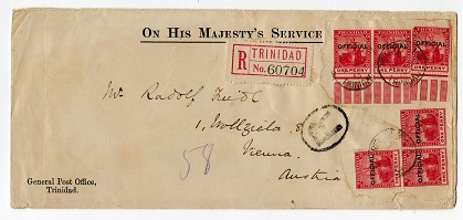 TRINIDAD AND TOBAGO - 1913 OHMS cover to Austria with 1d OFFICIAL use.