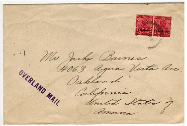 BAHRAIN - 1938 OVERLAND MAIL handstamped cover to USA.